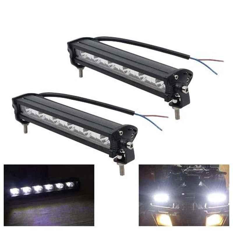 AllExtreme EX7I62P 2 Pcs 6 LED 7 inch 18W White Spot Fog Light Bar Set