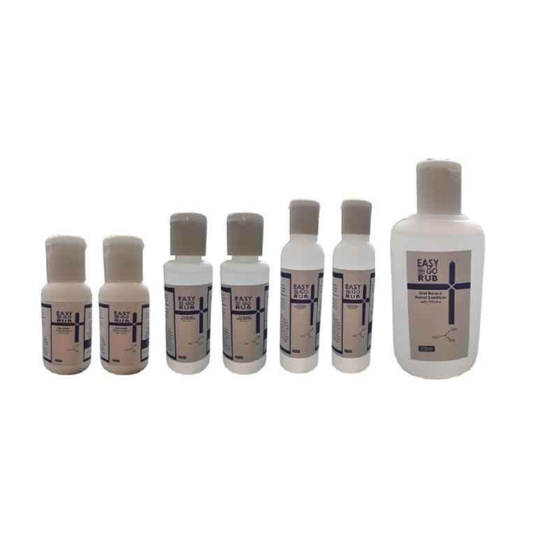 Easy Go Rub 75% Isopropyl Alcohol 2x30ml, 2x50ml, 2x100ml & 200ml Gel Based Hand Sanitizer Combo