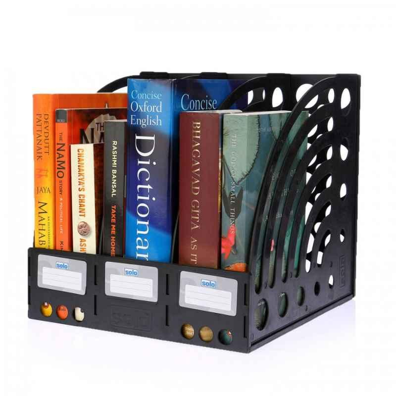 Solo XL Size Black 3 Compartment File & Book Rack, FS 301 (Pack of 2)