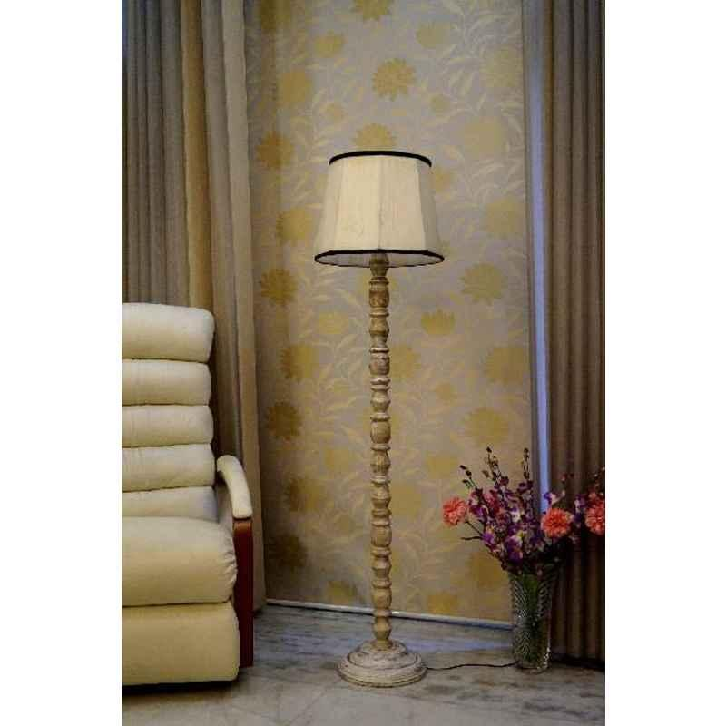 Tucasa Classic White Mango Wood Floor Lamp with Off White & Black Cylindrical Polycotton Shade, WF-82