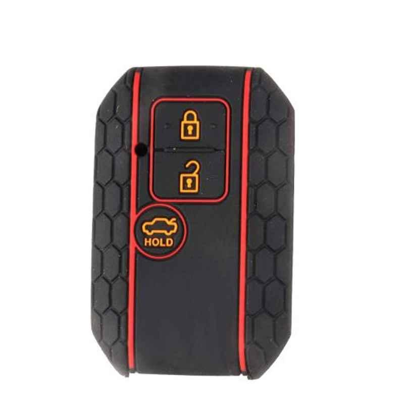 AllExtreme EXKC06 3 Buttons Silicone Shell Case Body Car Remote Black Key Cover