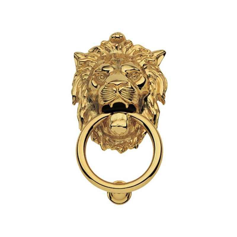 Smart Shophar 6.5 inch Brass Gold Lion Door Knocker, SHA10DK-LION-GL6.5-P1