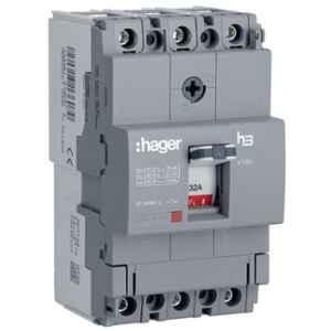 Hager 63A 3 Pole h3 Thermal Magnetic Release MCCB, HDA063Z, Breaking Capacity: 18 kA
