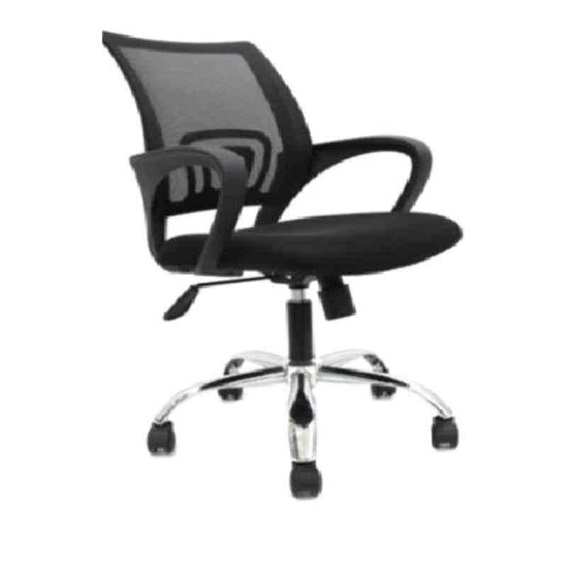 VJ Interior Noven Polypropylene & Upholstery Net Fabric Black Low Back Executive Task Chair, VJ-805