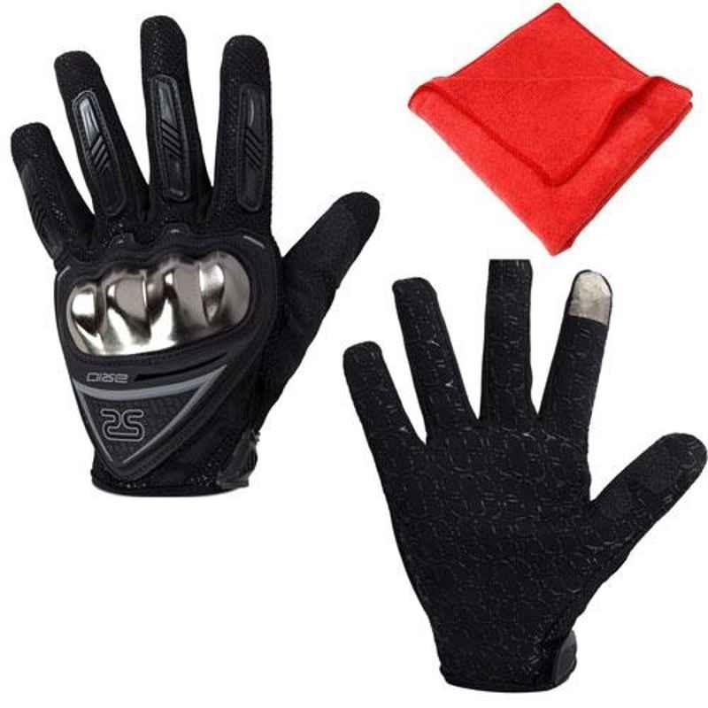AllExtreme EXBFGL2 Black Large Fabric Plastic Full Finger Sports Protective Gloves