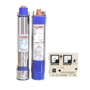 Flexo 1HP 4 inch Single Phase Oil Filled Borewell Submersible Pump with Control Panel, Total Head: 160 ft
