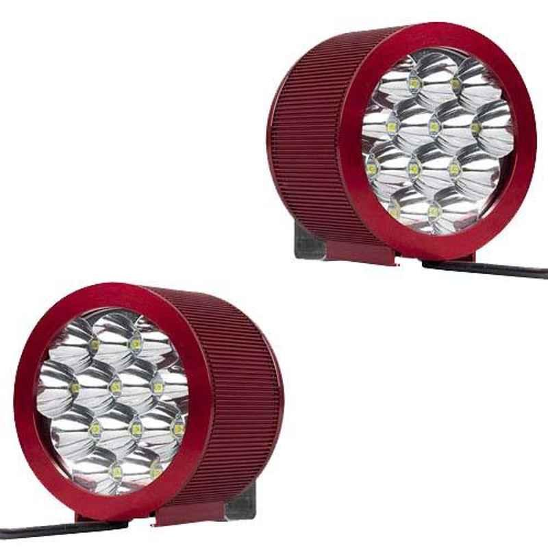 AllExtreme EX12FH2 2 Pcs 12 LED Fog Light with Attached High Decibel Loud Sound Horn Set