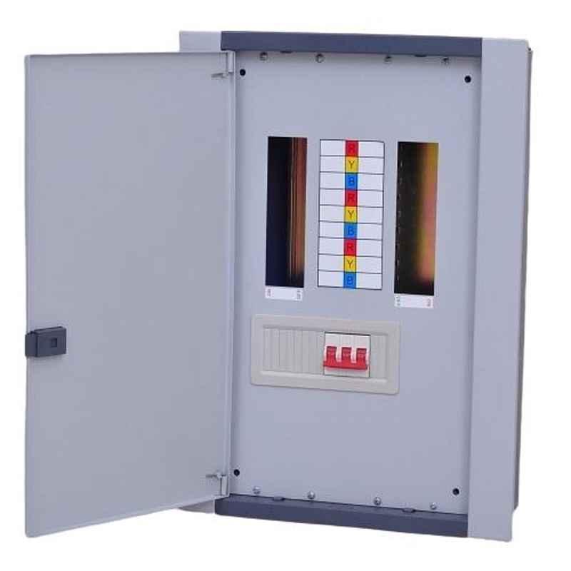 One World Electric 6 Ways Double Door CRCA Steel Vertical TPN Distribution Board, OWEVTPNDD0006