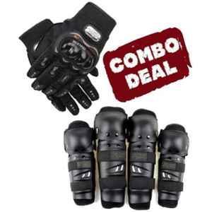 Love4ride Probiker Bike Gloves & Fox Elbow Knee Guard Combo for Biker