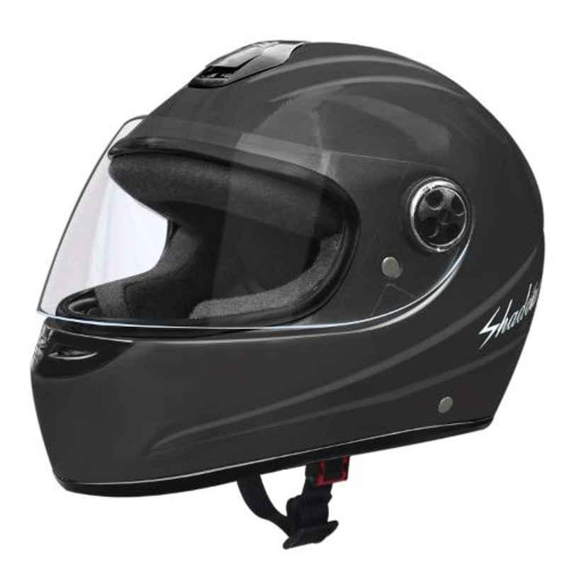 Habsolite HB-SG01 Shadow Grey Full Face Helmet with Clear Visor & Adjustable Strap, Size: M