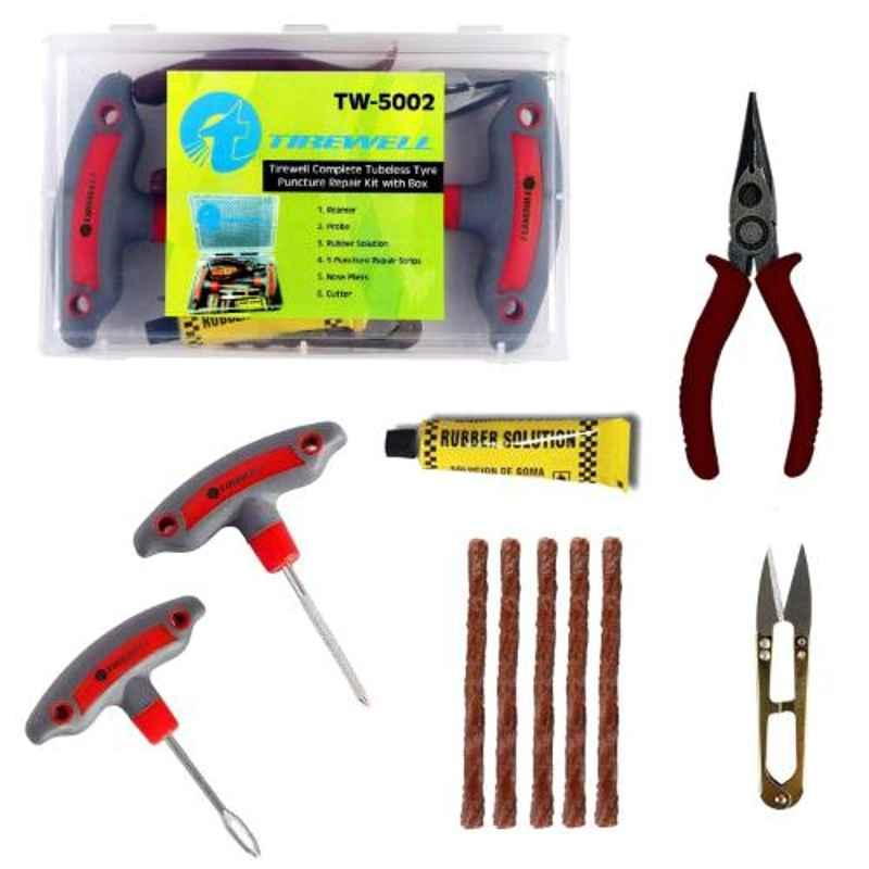 Tirewell TW-5002 6 in 1 Universal Flat Tyre Puncture Repair Kit for Car & Bikes