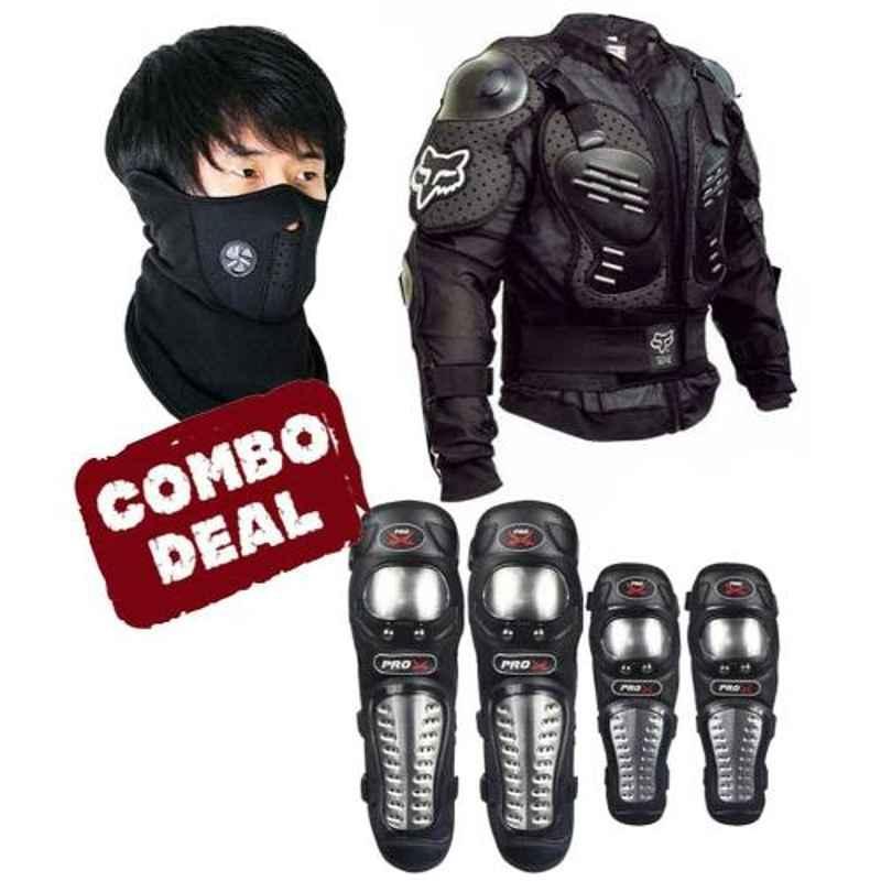 Love4ride Neoprene Mask, Probiker Elbow Knee Guard & Fox Body Armour Combo for Biker