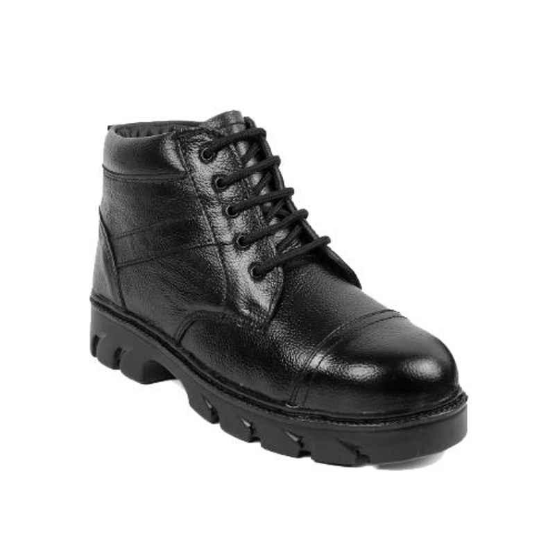 Woakers Synthetic Leather Steel Toe Airmix Sole Black Safety Boots, Size: 8