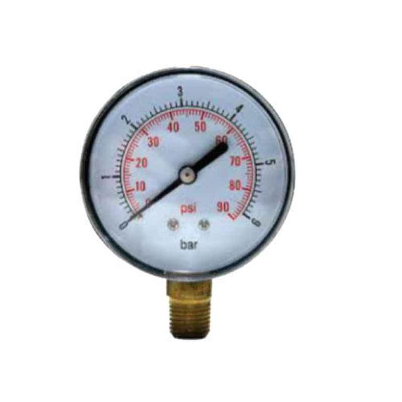 SFI 0-3000psi BSP & NPT Mild Steel Case & Brass Part BACK Pneumatic Pressure Guage, Dial Size: 2 inch, Thread Size: 1/4 inch