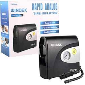 Windek 1903 Compact Tyre Inflator Air Pump 300 Psi With Powerful Compressor Compatible With All Car & Bikes (Black)