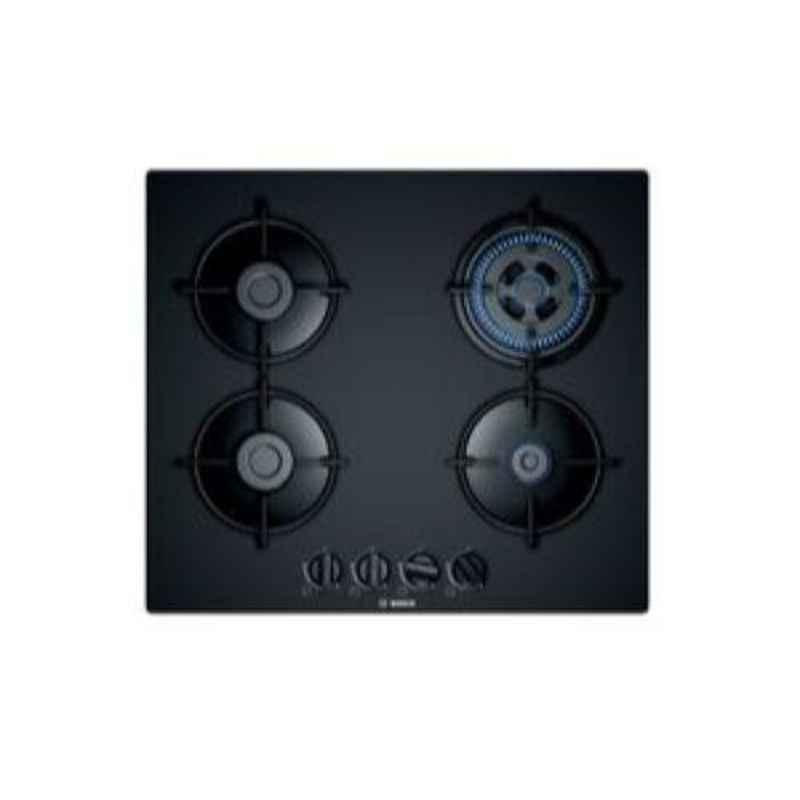 Bosch Serie-4 60cm 4 Burner Auto Ignition Black Tempered Glass Gas Hob, PNH6B6B10I