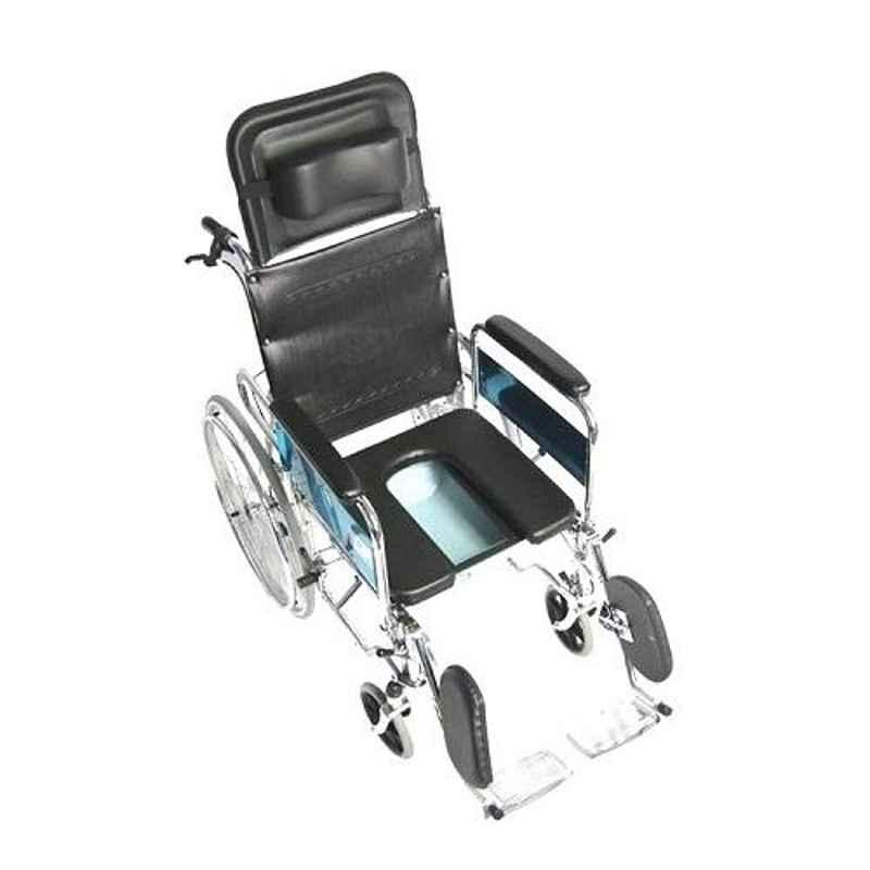 TRM Foldable Reclining Commode Wheelchair, TR608GC-46 U Seat/3007