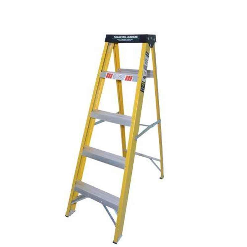 Champion 4.8ft 150kg Fiber Glass 5 Step Fiberglass Electric Shock Proof Foldable Ladder with Tool Tray