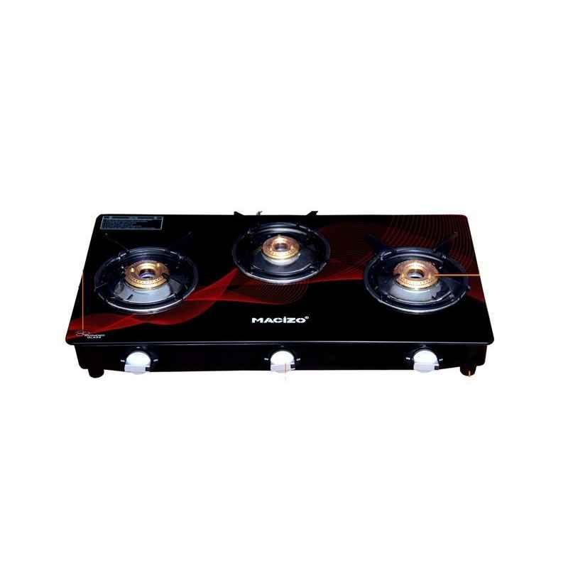 Macizo Red Wave 3 Burner Manual Ignition Black & Red Glass Gas Stove