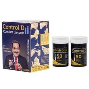 Control D 100 Pcs Blood Glucose Test Strips & 100 Pcs Comfort Lancets Combo