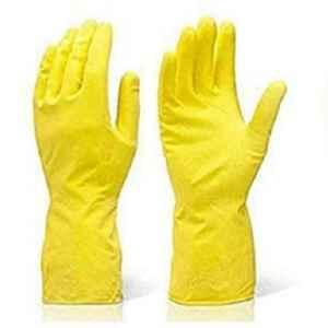 Generic Yellow Reusable Rubber Household Hand Gloves
