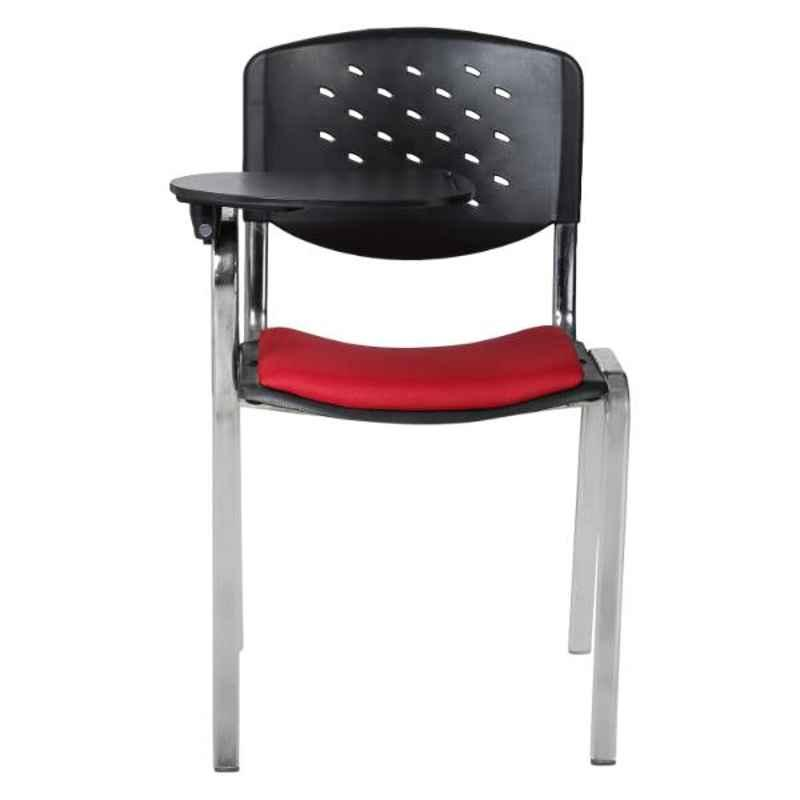 Caddy Metal & Plastic Black & Red Chair with Writing Pad Handle, RSC-704 (Pack of 2)