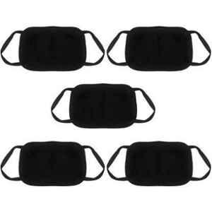 RA Accessories Black Free Size Anti Pollution Protective Face Mask (Pack of 5)