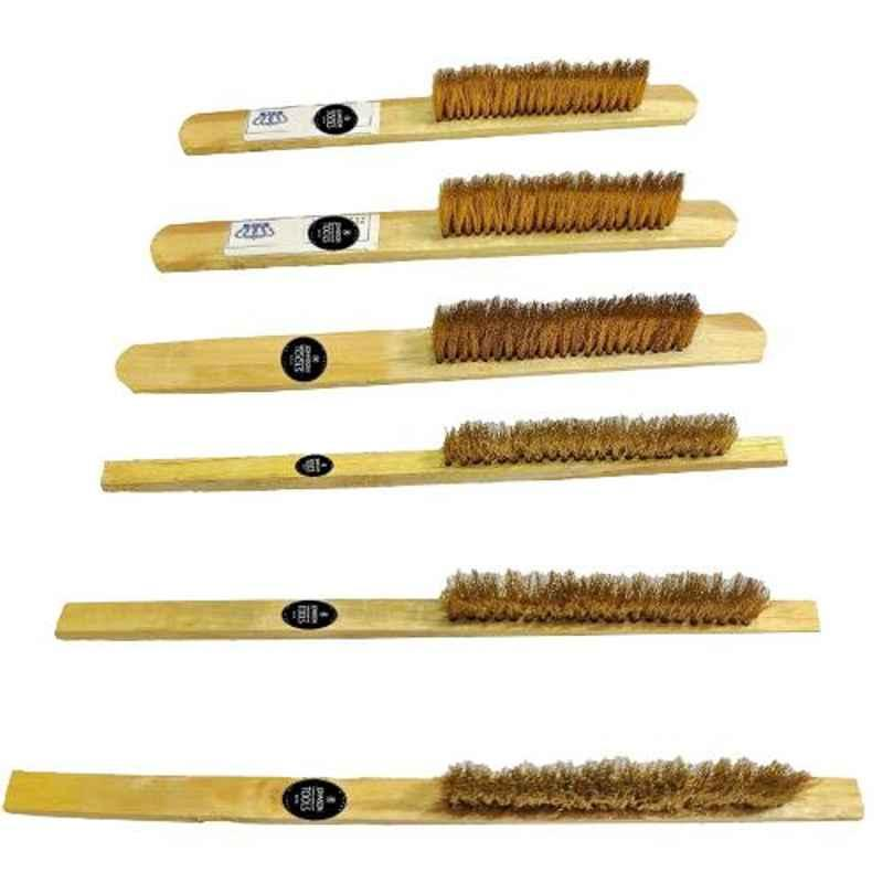 Johnson Tools 6 Pcs Soft Brass Brushes with Wooden Handle Set, BBS-6PC