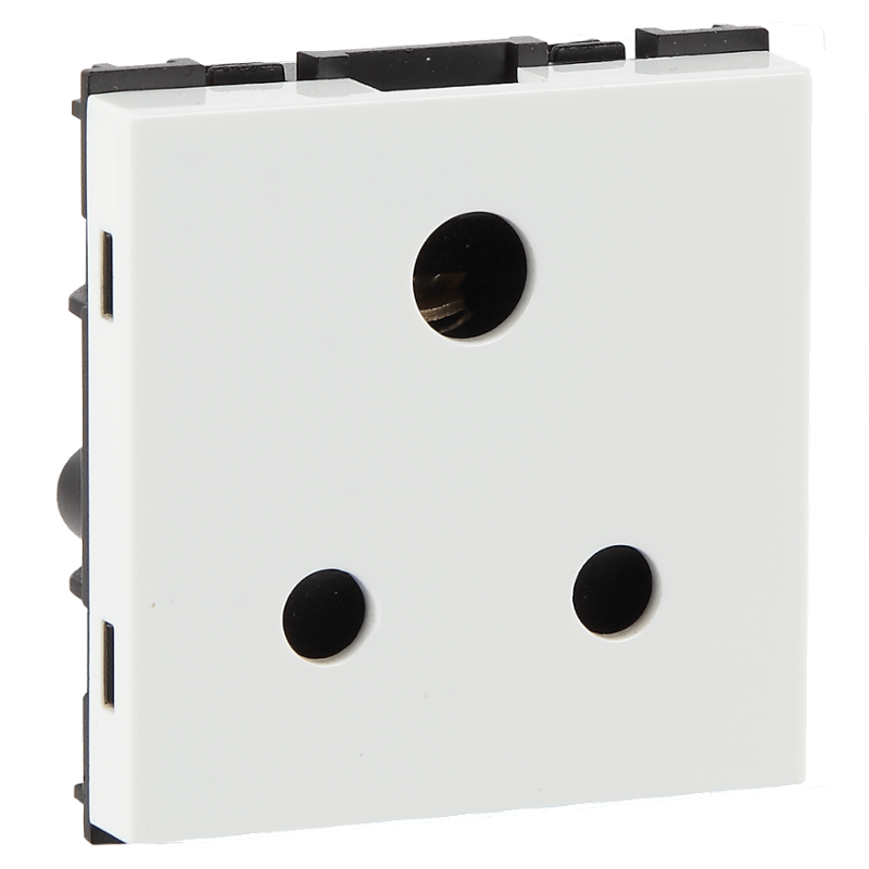 Havells 6A 3 Pin Polycarbonate White Shuttered Socket, AHFKPXW063