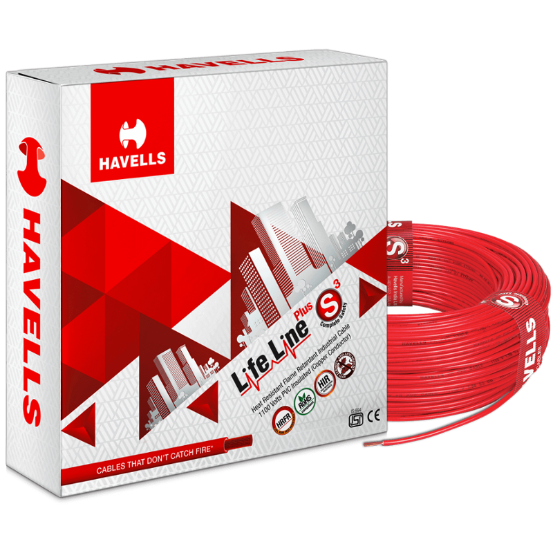 Havells 2.5 Sqmm Red Life Line Plus Single Core HRFR PVC Insulated Flexible Cables, WHFFDNRA12X5, Length: 90 m