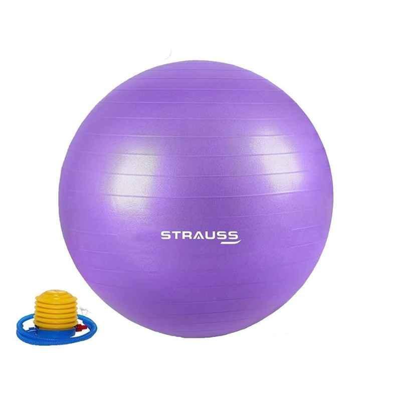Strauss 85cm Purple PVC Anti Burst Gym Ball with Foot Pump, ST-1474