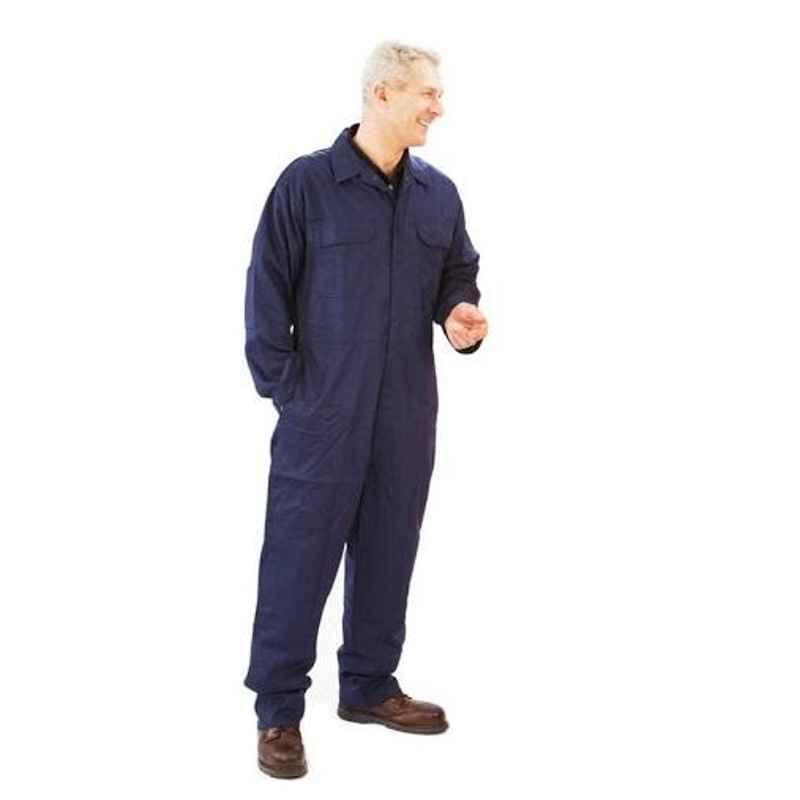 Siddhivinayak Navy Blue Cotton Full Sleeve Boiler Suit, Size: L