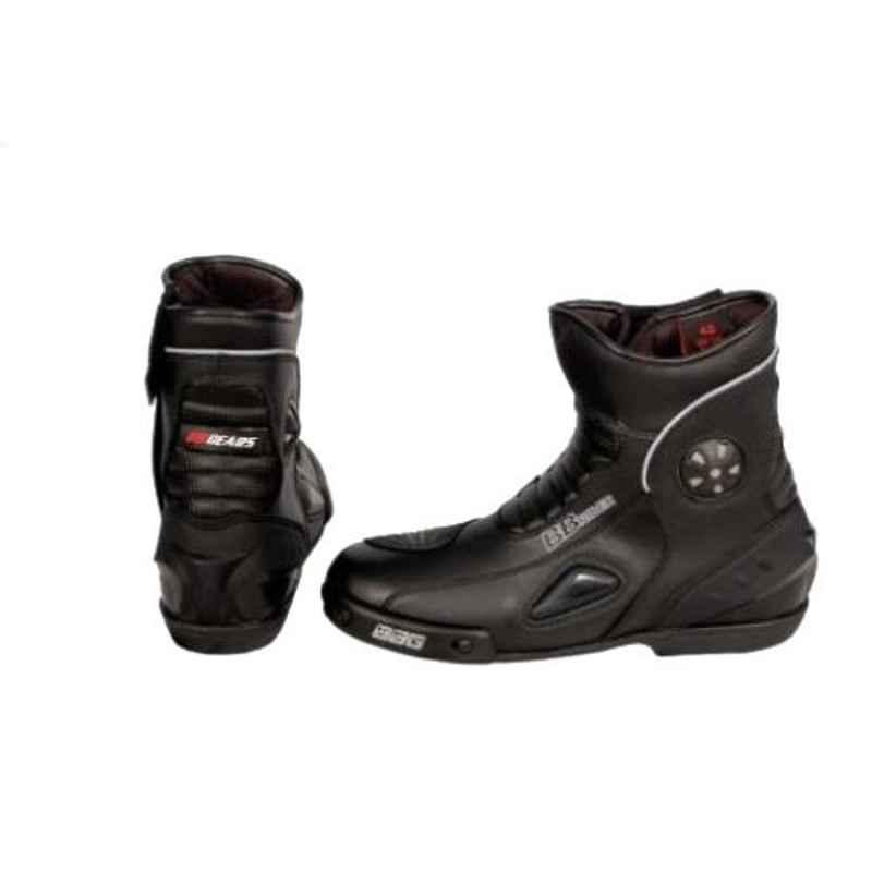 Biking Brotherhood Black Microfiber Leather Ankle Boot, Size: 6