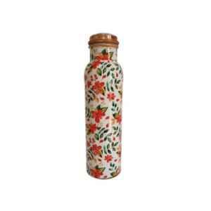 Healthchoice 1000ml Copper Orange Flower Printed Water Bottle