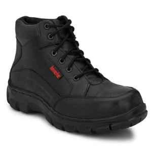 Kavacha S50 Pure Leather Steel Toe Black Safety Shoes, Size: 8