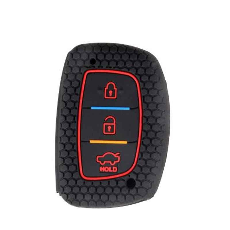 AllExtreme EXKC07 3 Buttons Silicone Shell Case Body Car Remote Black Key Cover