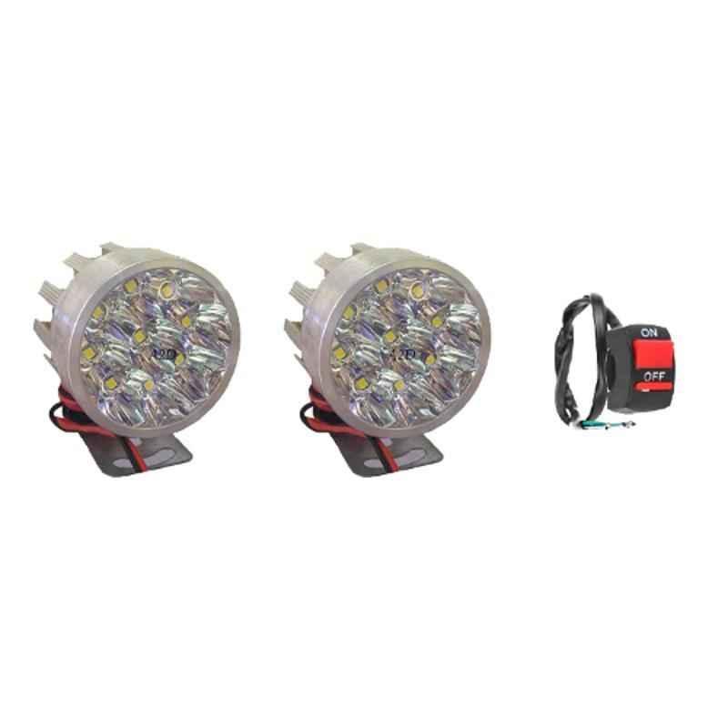 Love4ride 2 Pcs 9 LED Small Round White LED Fog Light Set with Handle Switch