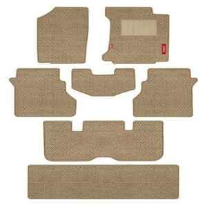 Elegant Popcorn 7 Pcs Polypropylene & Non Woven Beige Carpet Car Floor Mat Set for Maruti Suzuki Ertiga Lxi 2018 Onwards