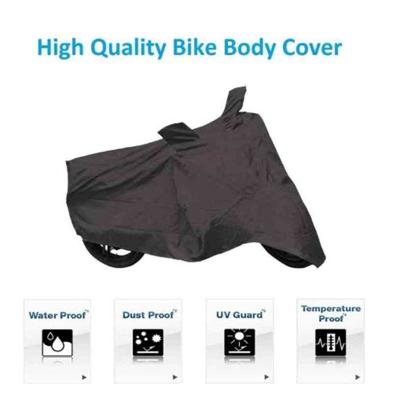 AllExtreme EXBBCBL Black Premium Quality Universal Bike Body Cover