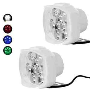 AllExtreme EX9F2RGB 9 LED 20W Red, Green & Blue Beads Waterproof White Spot Beam Fog Light (Pack of 2)