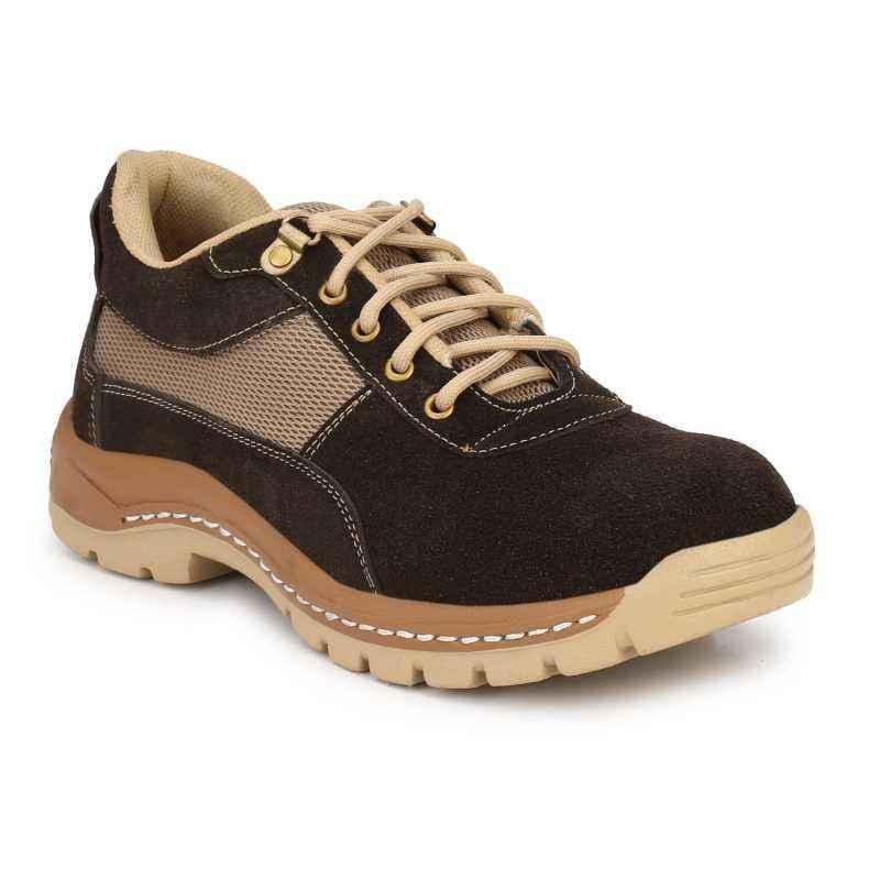 Kavacha S44 Brown Leather Steel Toe Safety Shoes, Size: 8