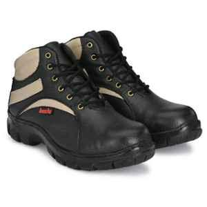Kavacha S64 Leather Steel Toe Black & Brown Safety Shoes, Size: 7