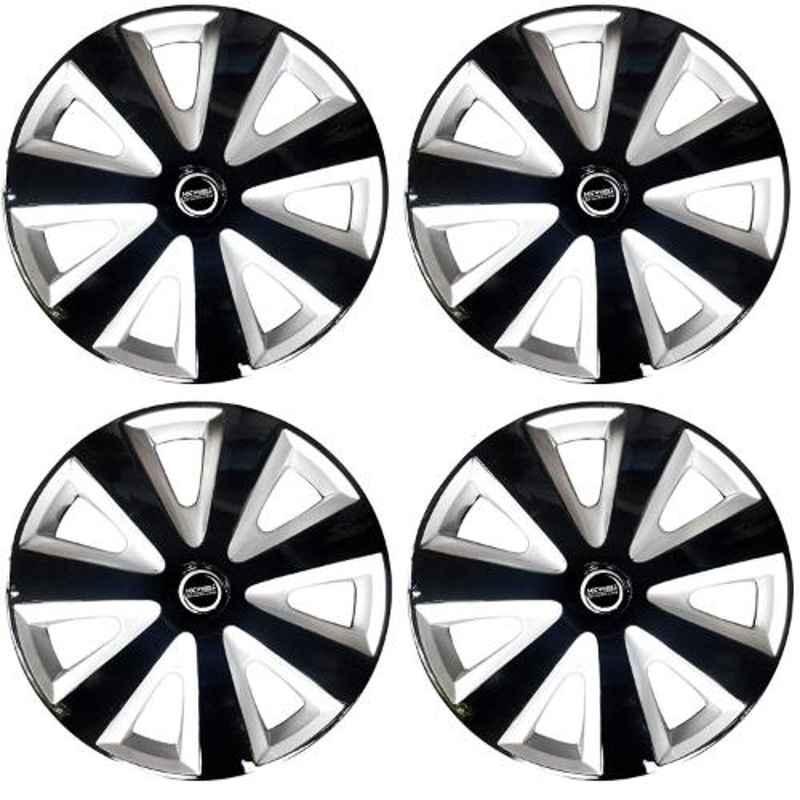 Hotwheelz 4 Pcs 13 inch Black & Silver Wheel Cover Set for Hyundai Xing, HWWC_DZIRE_BS13_XING