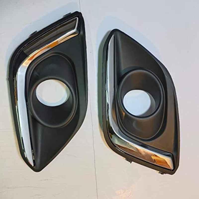 Modified Autos 2 Pcs Black Finish Left & Right Fog Lamp-Foglight Bezel/Cover with Chrome Detailing Set for Maruti Swift Type4