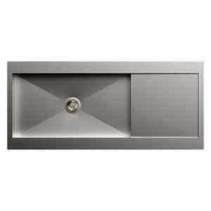 Carysil Rege Single Bowl Stainless Steel Matt Finish Kitchen Sink with Drainer, Size: 46x20x8 inch