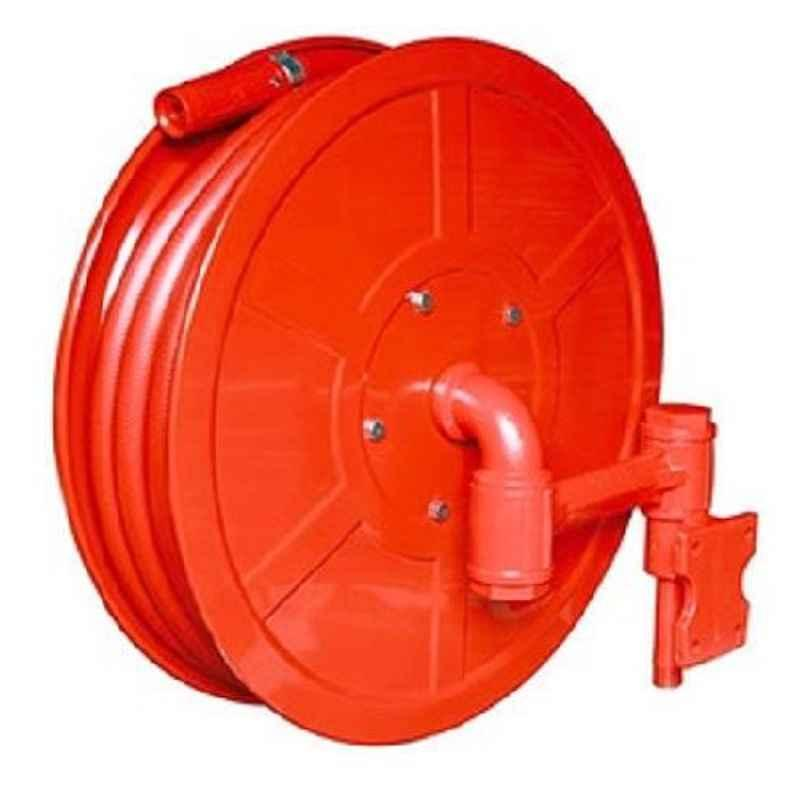 The Fire Company Malaysian Mild Steel Red Hose Reel Drum with 30m Thermoplastic Hose Pipe & Shutoff Nozzle