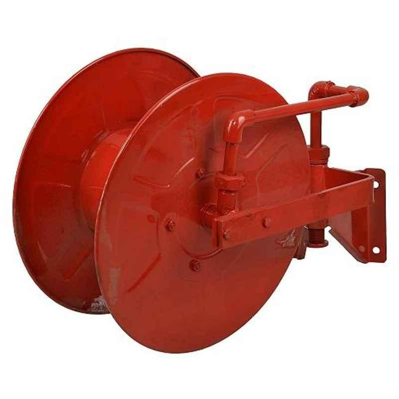 The Fire Company Indian Style Mild Steel Red Hose Reel Drum with 30m Thermoplastic Hose Pipe & Shutoff Nozzle