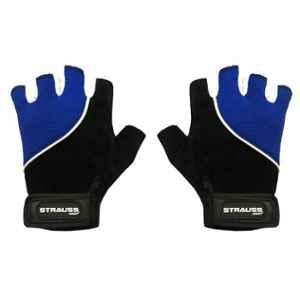 Strauss Large Black & Blue Comfort Stretch Back Cut Finger Gloves, ST-1278