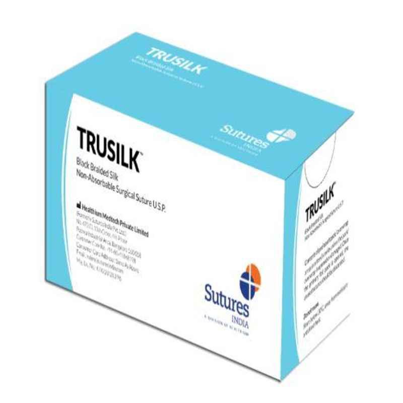 Trusilk 12 Foils 2-0 USP 76cm 3/8 Circle Reverse Cutting Black Braided Non-Absorbable Silk Suture Box, SN 5036