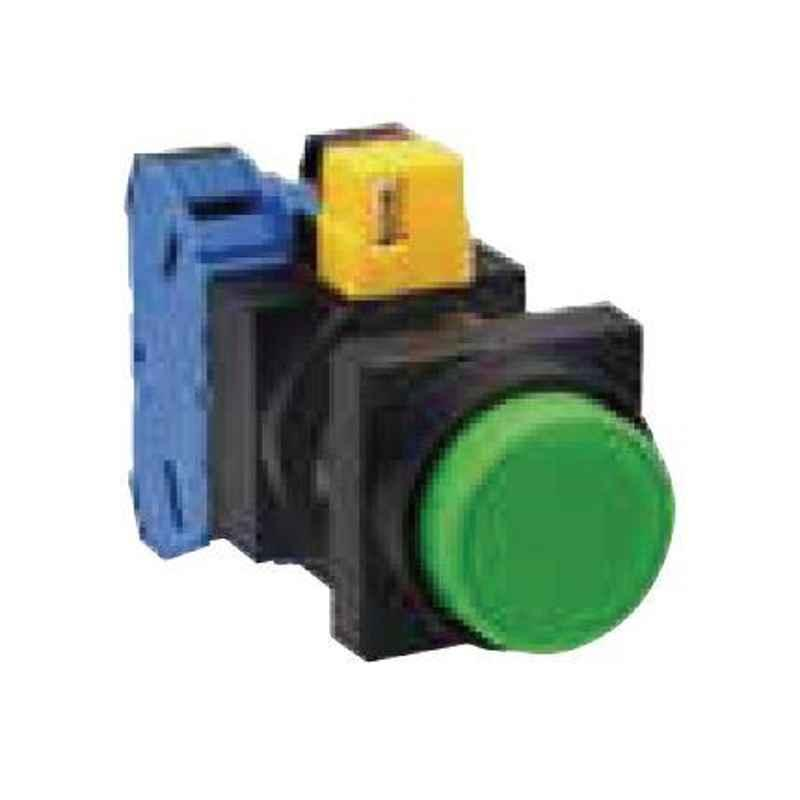 Idec 22mm 1NC Maintained Round Flush with Square Bezel Green Pushbutton, HW3B-M201G